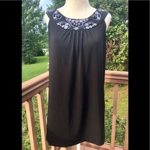 Express Racerback Embellished Black Top Large